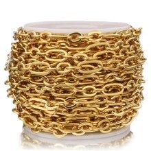 1 metro de aço inoxidável ouro rolo cabo cadeias fio liso chique 3:1 corrente apto para diy jóias fazendo suprimentos por atacado lotes a granel