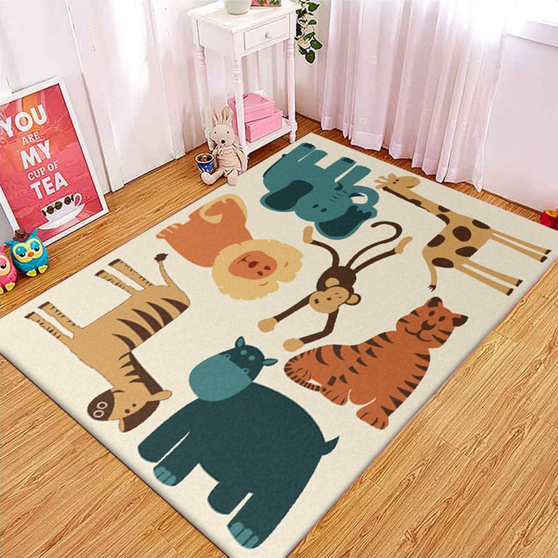 Cute Cartoon Animal Kids Carpet Monkey Tiger Lion Elephant Printed Living Room Bedroom Area Rug Children Play Crawling Floor Mat