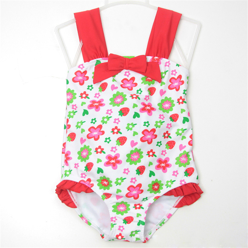 New Kid One Piece Swimsuit 2-7 Y Baby Girl White and Red Flowers Swimwear Children Beach Swimming Wear Bathing Suit
