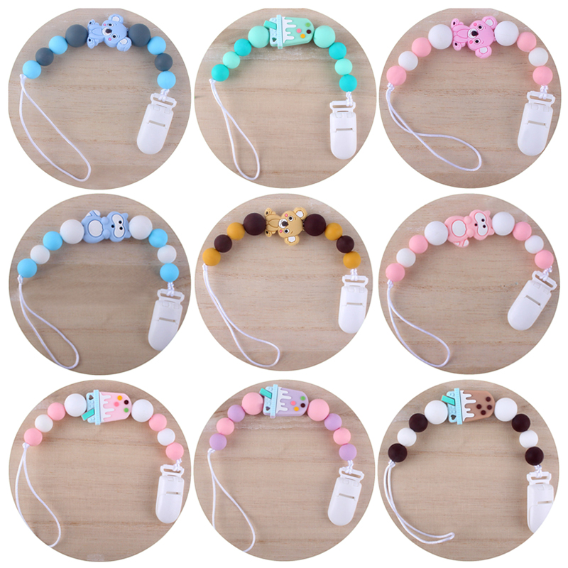 New Baby Teether Cartoon Cat Bracelet Food Grade Silicone Chews Nurse Pacifier Clips Holder Silicone Pacifier Chains Teether Toy