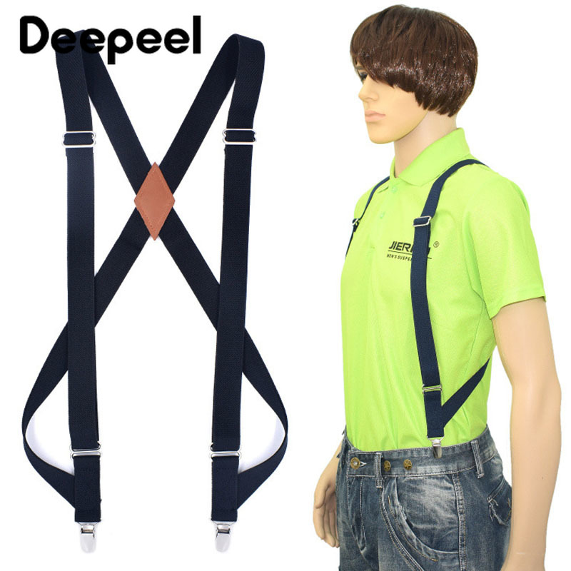 Deepeel 1pc 2.5*125cm Polyester Elastic Webbing Adjustable 2 Clip-on Suspenders Unisex X Type Suit Decorative Straps SP064