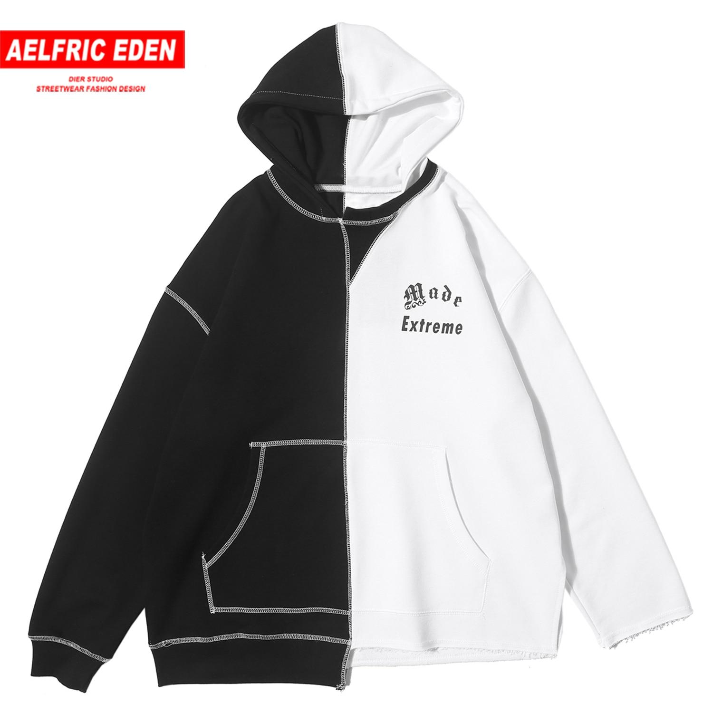 Aelfric Eden Patchwork Letter Print Men Hoodies 2020 Harajuku Casual Cotton Male Pullover Fashion Streetwear Hoodies Sweatshirts