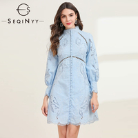 SEQINYY Blue Dress 2020 Spring Autumn New Fashion Design Women Long Sleeve Mini Hollow out Flower Linen Cotton Dress