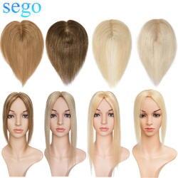 SEGO прямые 6*9 с шелковой основой волосы Топпер человеческие волосы закрытие чистый цвет перуанские не Реми волосы с двойные узлы 6-20 дюймов