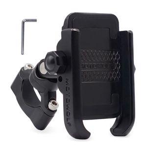 Image 2 - 360 Degree Universal Bike Aluminum Alloy Motorcycle Motorbike Handlebar Phone Holder Stand Mount For 4 6.4 inch Mobile Phone