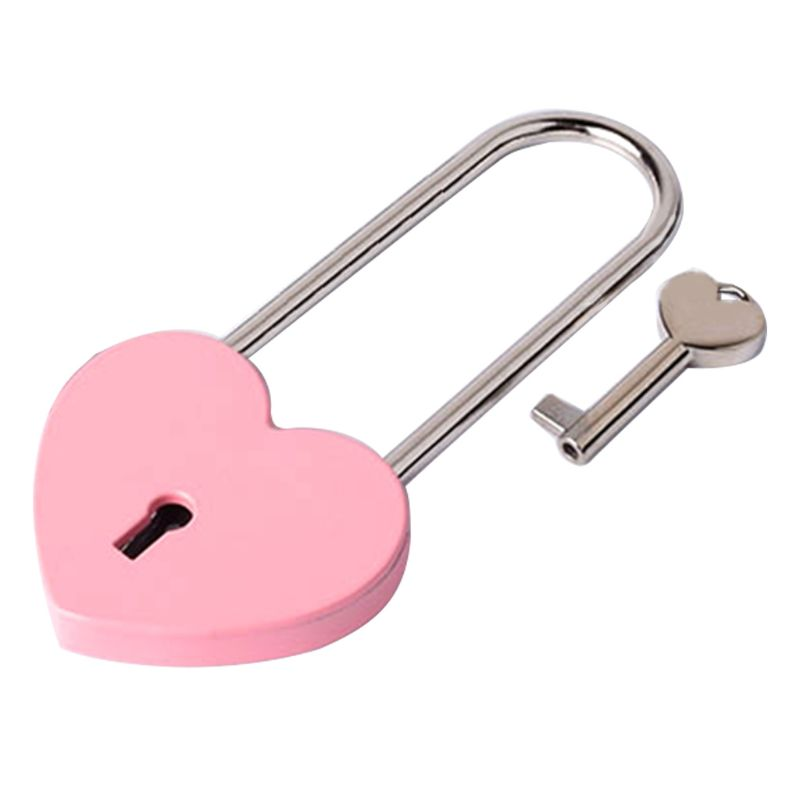 Heart-Shaped Metal Long Wish Lock Padlock With Key For Lovers Wedding Anniversary Marriage Travel Supplies Portable Gift
