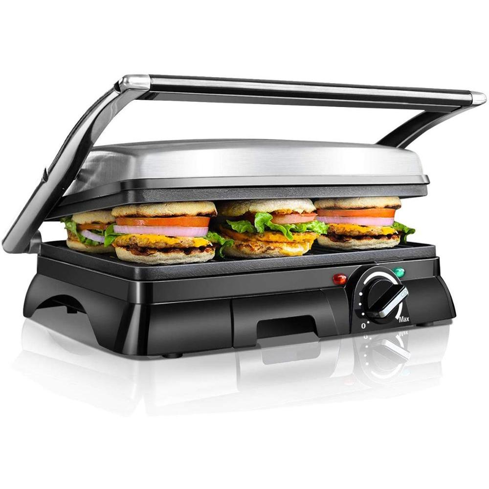 Aigostar Samson 30KLU - Grill, grill, panini, 2000W, sandwich maker with floating lid. large non-stick plates 29.5 x 23.5 cm. image