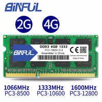BINFUL Brand New Sealed DDR3 2GB 4GB 1066mhz 1333 1600 PC3-12800/8500/10600 di RAM Del Computer Portatile di memoria/garanzia a vita di Trasporto libero