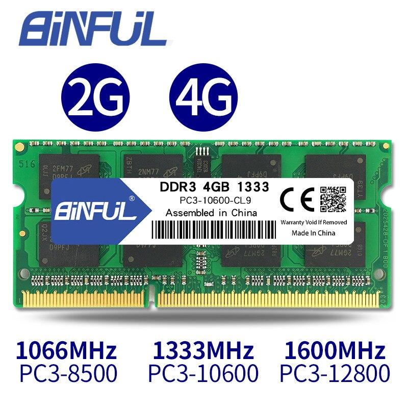 BINFUL flambant neuf scellé DDR3 2GB 4GB 1066mhz 1333 1600 PC3-12800/8500/10600 mémoire RAM pour ordinateur portable/garantie à vie livraison gratuite