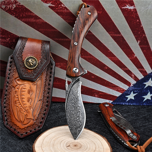 VG10 Damascus Folding Knife Tactical Military With Holster Outdoor Camping Survival Hunting Self Defense Pocket Jackknife Navaja 4