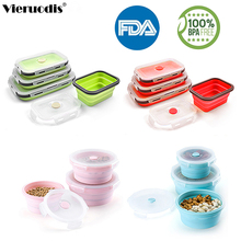 Silicone Portable Folding Lunch Box Environmentally Friendly Food Grade Microwave Kitchen accessories