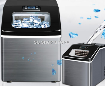 цена на 220V/110V NEW FREE SHIPPING ice machine commercial tea shop small mini square ice 25kg home automatic ice making machine