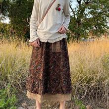 Japanese mori girl lace patchwork flowers print skirt