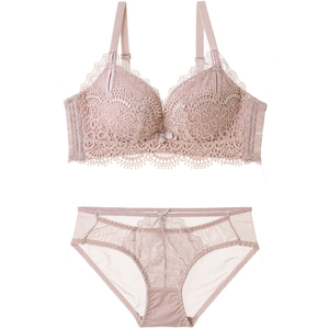 Image 4 - Conjunto de ropa interior de encaje para mujer, juego de sostén sin costuras, Bralette con bordado floral, lencería pequeña y gruesa