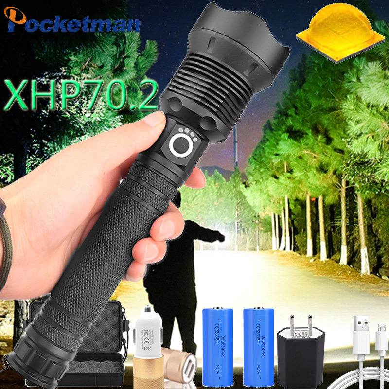120000 Lumens XLamp Xhp70.2 Most Powerful Led Flashlight Usb Zoom Torch Xhp70 Xhp50 18650 Or 26650 Rechargeable Battery  Light