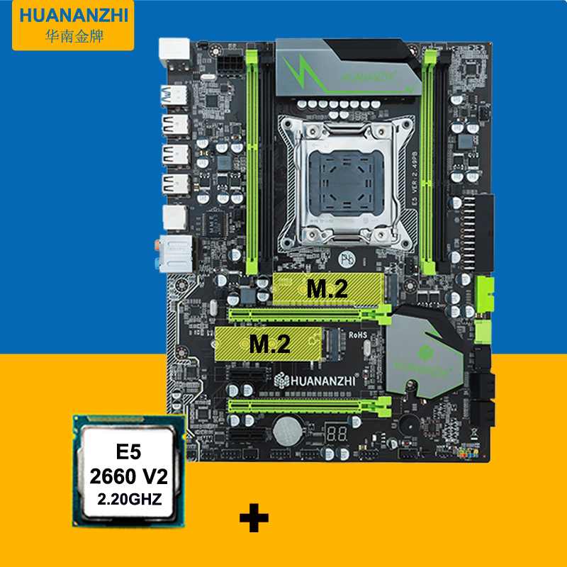 V2.49 HUANAN X79 motherboard CPU kit X79 LGA2011 motherboard CPU <font><b>Xeon</b></font> E5 <font><b>2660</b></font> V2(10 cores/20 threads) all tested before shipping image