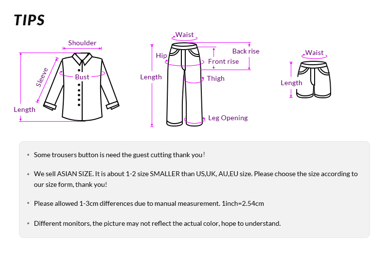 Men's clothing description