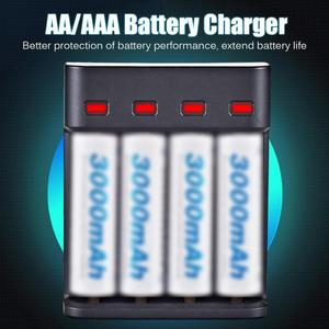 Image 5 - סוללה מטען 4 חריץ USB מטען 4 חריצים מהיר טעינה אינטליגנטי AA/AAA נטענת USB סוללה מטען 4A סוללה מטען
