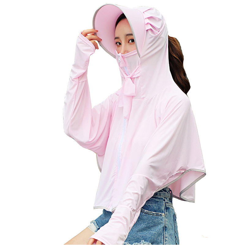 K25 Summer Sunscreen Ice Silk Top For Women Girl Solid Color Breathable Shawl Of UV Protection Cloak Sun Shirt Outdoor Coat