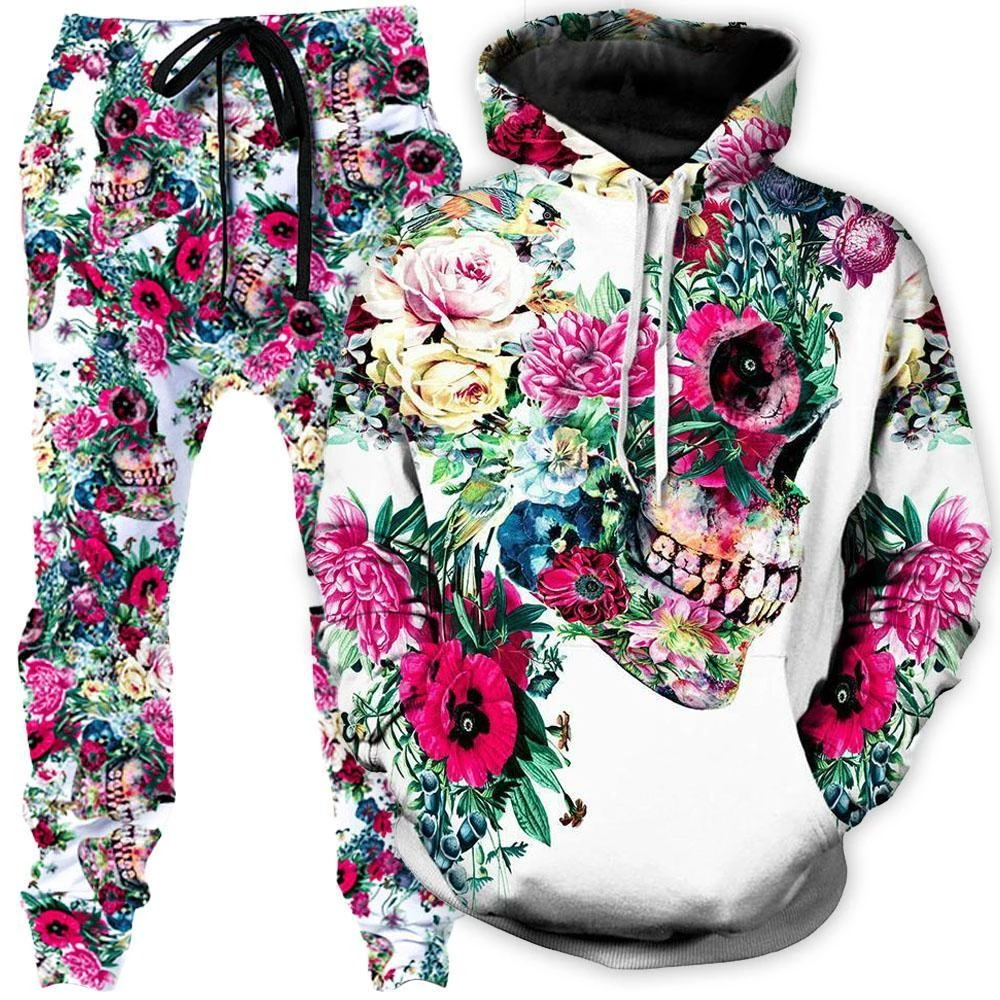 Newest Skull Suit Hoodies Fashion Men / Women Long Sleeve Outerwear Skull 3d Print Pants Novelty Sweatshirts And Jogger Pant