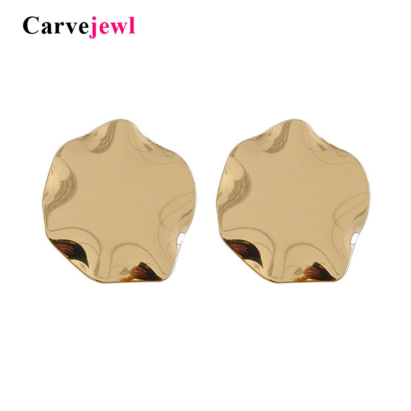 Carvejewl Big Irregular Metal Round Stud Earrings For Women Punk Girls Glossy Crush Gold Silver Color Party Gift Fashion Jewelry