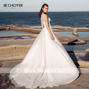 Image 2 - BECHOYER פשוט תחרה חתונה שמלת 2020 O צוואר שרוולים אונליין רכבת מותאם אישית נסיכת כלה אשליה Vestido דה Noiva AB52