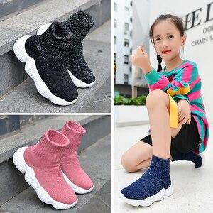 Image 2 - Obuwie dziecięce 2019 modne dziewczęta chłopcy trampki dziecięce siatkowe latające tkactwo Casual Sport Running ultralekkie buty dziecięce skarpety