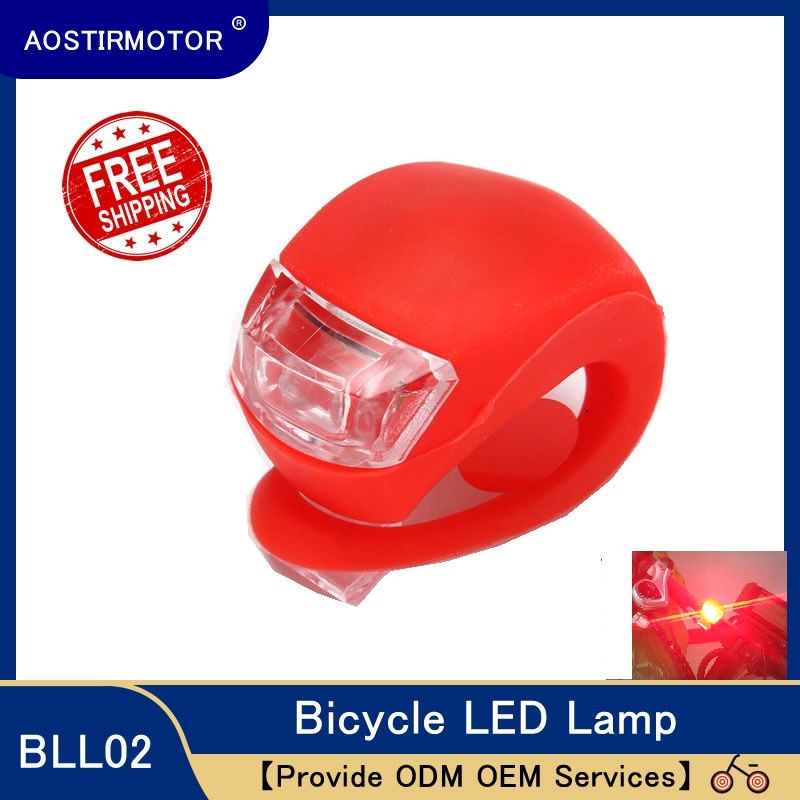 AOSTIRMOTOR Led Bike Lights Silicone Bicycle Light Waterproof Head Front Rear Wheel LED Flash Lamp Cycling Warning Light