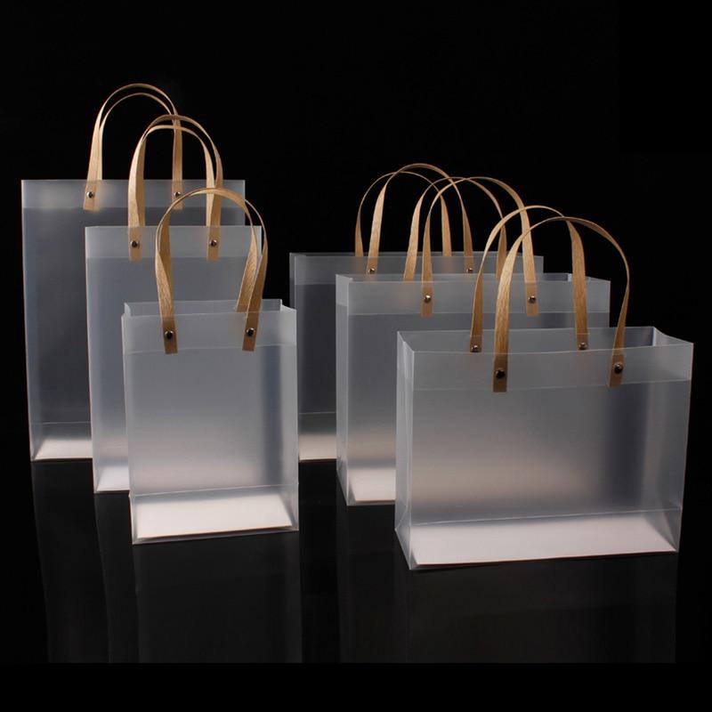 10 шт. высококачественный полупрозрачный пластиковый пакет матовые полипропиленовые пакеты с бумажной ручкой жесткая пластиковая посылка ...
