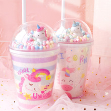 Double Layer 380ml Unicorn Water Bottle Cup with Straw Carto