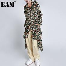 [EAM] Women Black Pattern Printed Chiffon Big Size Blouse New Lapel Long Sleeve Loose Fit Shirt Fashion Spring  2021 1DD6003