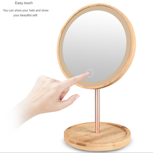 LED vanity light Wooden desktop led makeup mirror with lamp usb home desktop dressing beauty makeup light daylight charging desk