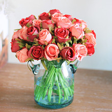12 Pieces Small Rose Flower Home Decor Artificial Flowers Silk Simulation Bunch Fake Wedding Holding