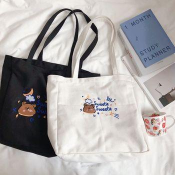 Cute Cartoon Bear Canvas Ladies Shoulder Bags Simple Girls Travel Folding Handbags Fashion Women Large Shopping Bag Casual Tote