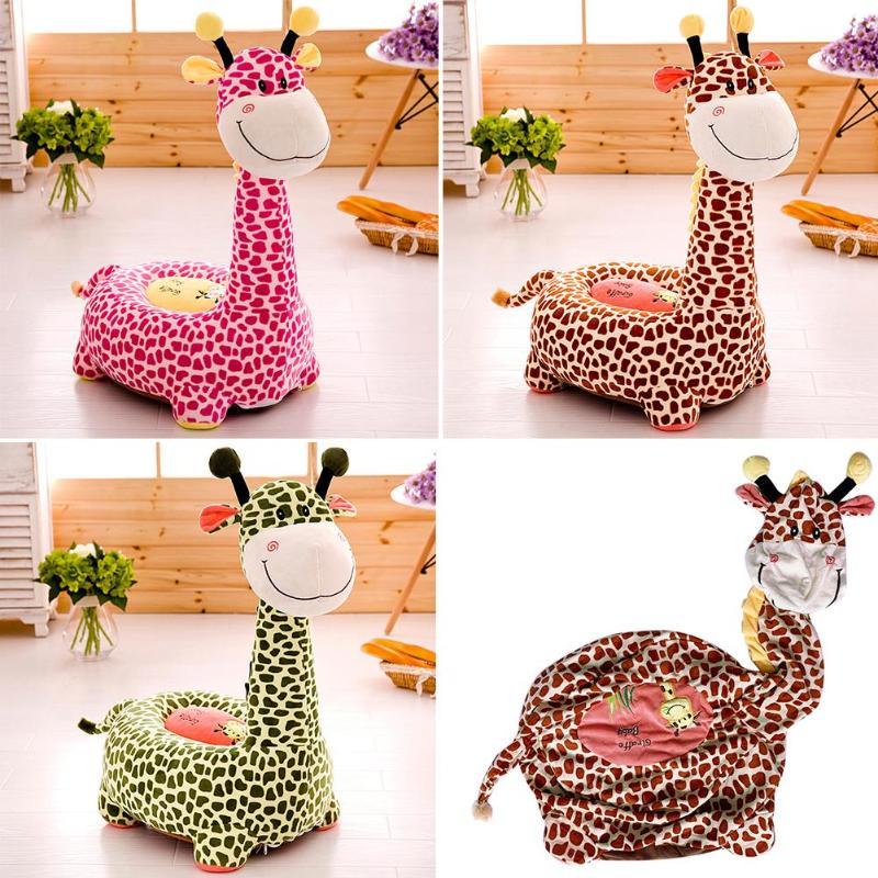 Floor Seat Cushion Cover Cartoon Giraffe Designed Baby Seat Plush Toy No Cotton Sofa Doll Home Textile Decoration