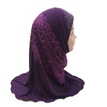 Hijab pour filles musulmanes pour enfants, mode islamique châle écharpe avec beau diamant en dentelle, vente en gros