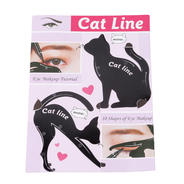 Hot Sale Eyebrow Stencils Cat Eyeliner Model Stencil Kit Guide Template Maquiagem Double Wing Eye Shadow Frame Card Makeup Tools