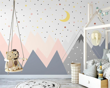 beibehang Customized Nordic hand-painted new geometric mountain childrens room wallpaper starry sky background