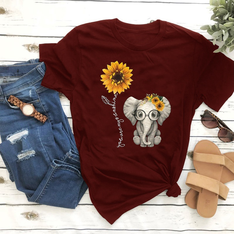 2020 New Elephant Sunflower Print Shirt Women Casual Short Sleeve O Neck Tee Tops For Female Cartoon Cute T-shirts Femme Clothes