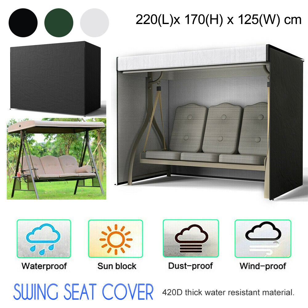 3colors 3seaters Outdoor Swing Chair Cover Courtyard Garden Hammock Patio Canopy Bench Seat Waterproof Cover Protector Sun Shade