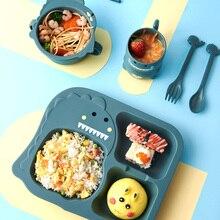 Wheat straw Kid Cartoon Dinosour Bowl Dishes Lunch Box Kid B