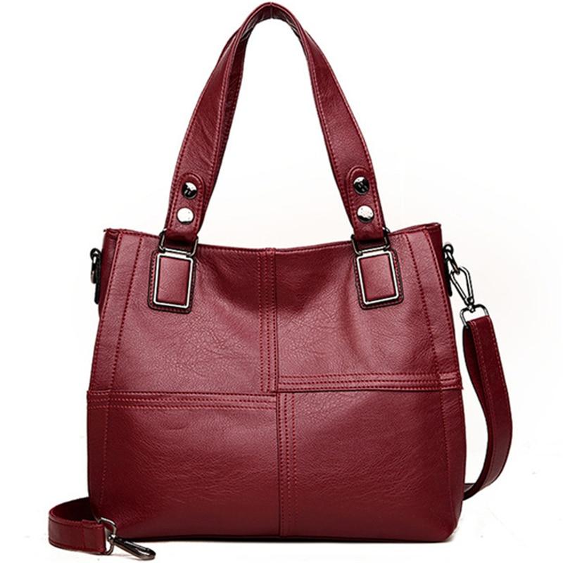 Leather Luxury Handbags Women Bags Designer Famous Brands Plaid Ladies Shoulder Hand Bags For Women Big Casual Tote Sac A Main