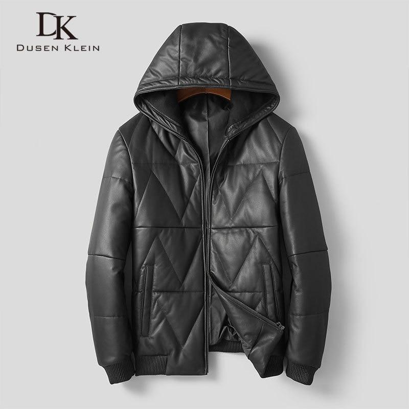 Men Genuine Leather Jackets Leather Down Coats Winter Warm Hooded Coat Sheepskin+Duck Down 5XL 1822