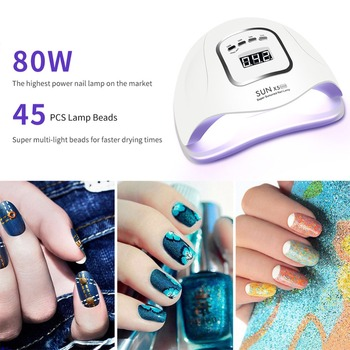 UV Lamp For Nail 80W SUNX5Max LED Nail Dryer For Manicure Curing All Gel polish Nail Lamp 45 Pcs Led 30s/60s/90s Auto Sensor 1