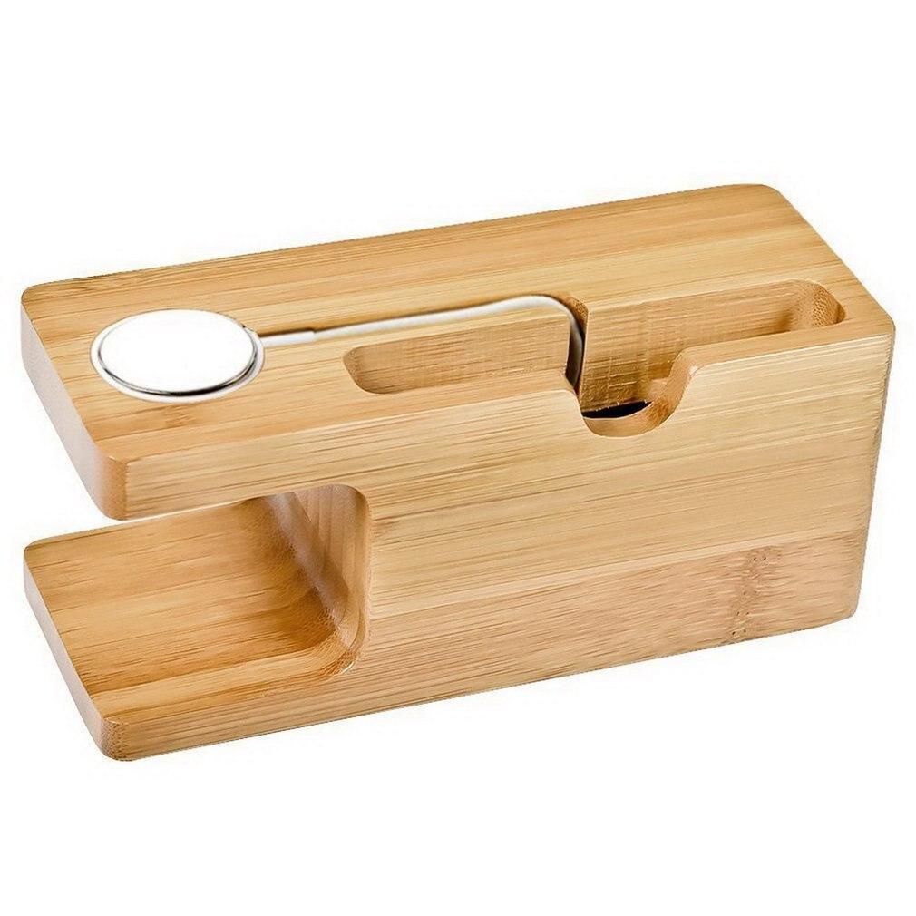 Support de berceau de Station de charge en bois de bambou 2 en 1 pour iPhone pour montre Station de chargement de bureau universelle