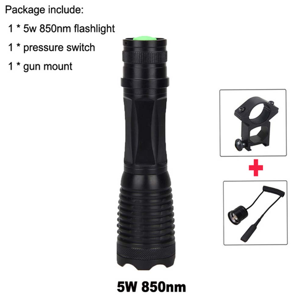 IR Illuminator Flashlight 5W 850nm LED Zoomable Infrared Radiation Lantern Tactical Hunting Torch+Gun Mount