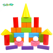 32pcs color Wooden Geometric Solids 3-D Shapes Montessori Blocks Early Education Rainbow Math Toys Resources for School Home richard george boudreau incorporating bioethics education into school curriculums