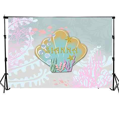 photography backdrop baby girl mermaid shell seaweed undersea under water Birthday Party Banner photo studio Background decors