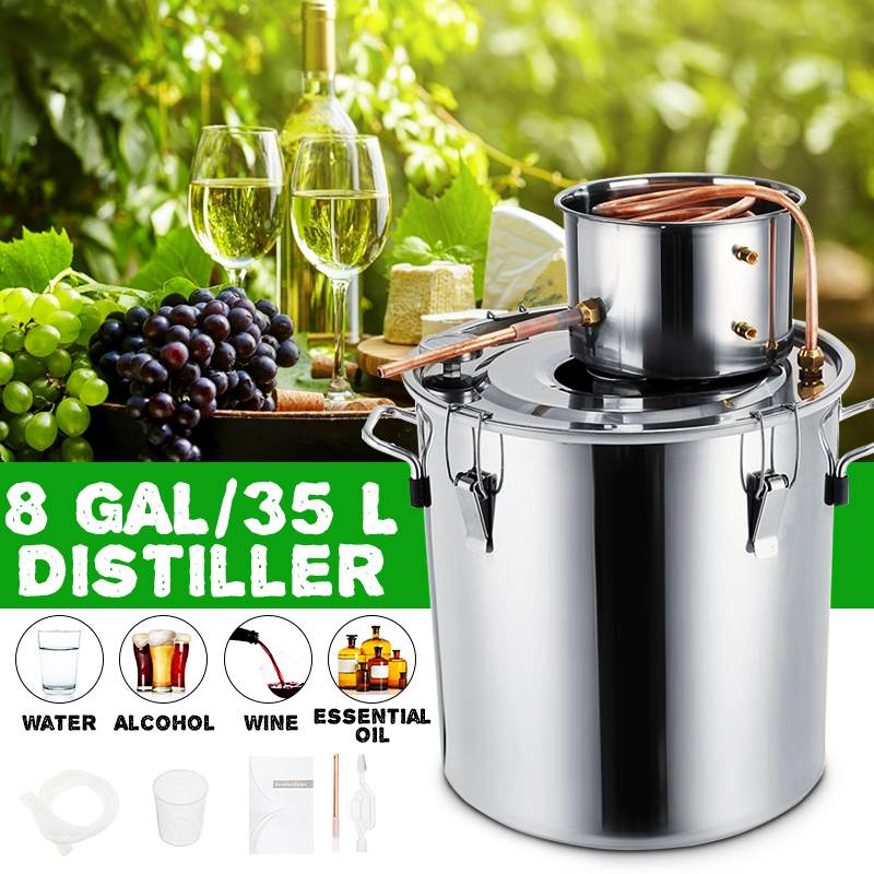 8GAL / 35L Distiller Moonshine Alcohol Distiller Stainless Copper DIY Home Water Wine Essential Oil Brewing Kit