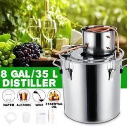 8GAL / 35L Distiller Moonshine Alkohol Distiller Edelstahl Kupfer DIY Home Wasser Wein Ätherisches Öl Brauen Kit